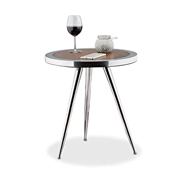 Relaxdays Acacia Side Table With Metal Legs, Coffee Table With Wood Grain  Pattern, Three