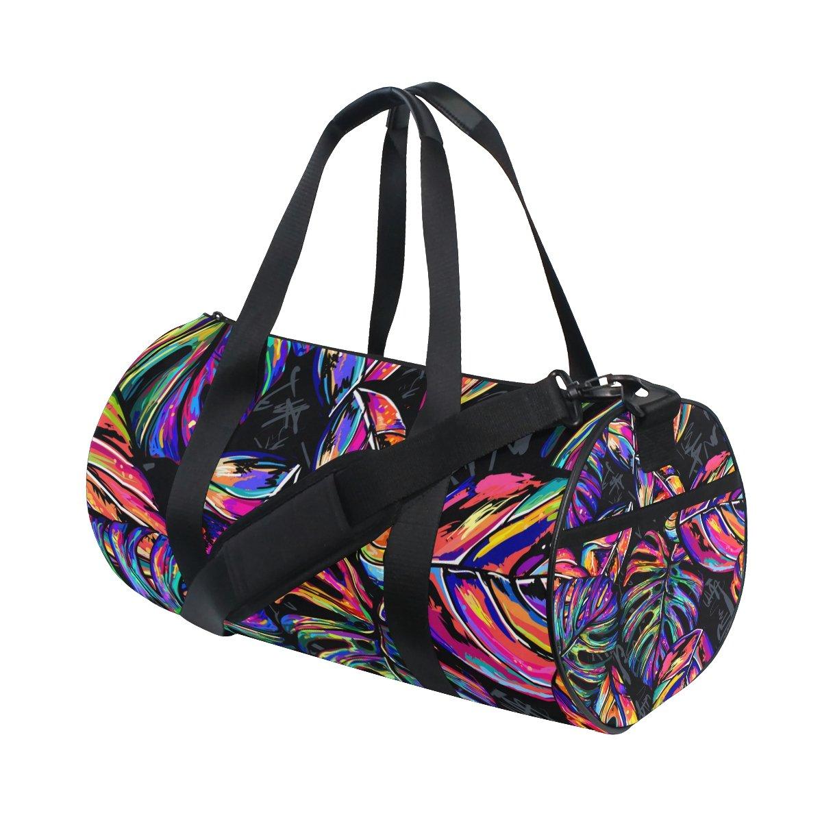 U LIFE Summer Tropical Palm Trees Colorful Hippie Sports Gym Shoulder Handy Duffel Bags for Women Men Kids Boys Girls