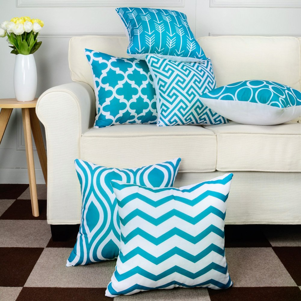Canvas Square Decorative Throw Pillows Cushion Covers Pillowcases For Sofa ,Set of 6 Turquoise