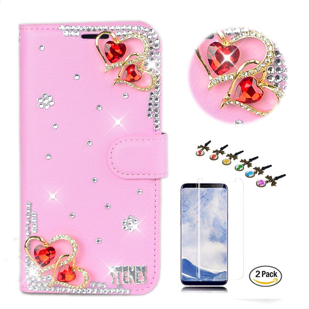 STENES LG V35 ThinQ Case - Stylish - 3D Handmade Crystal Pretty Heart Design Wallet Credit Card Slots Fold Media Stand Leather Cover with Screen Protector for LG V35 ThinQ - Pink