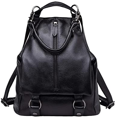 fcb8feedda Amazon.com  BOYATU Genuine Leather Backpack Purse for Women Fashion Travel  Bag Rucksack (Black)  Clothing