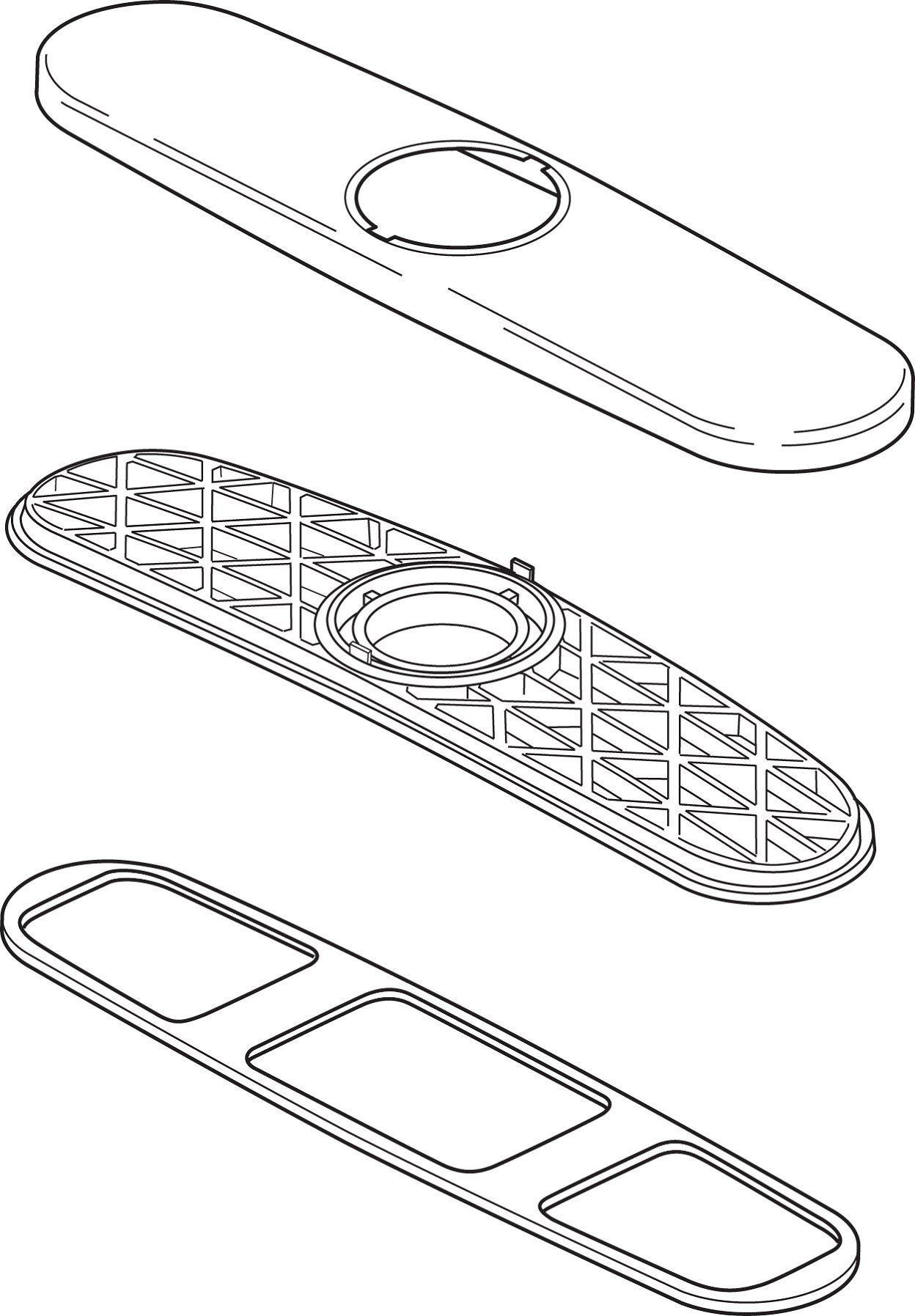 Delta Faucet RP64472 Allora Escutcheon, Base, and Gasket, Chrome