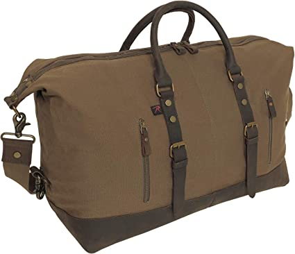 O.D Canvas Travel Bag w// Brown Leather Accents Rothco Extended Weekender Bag