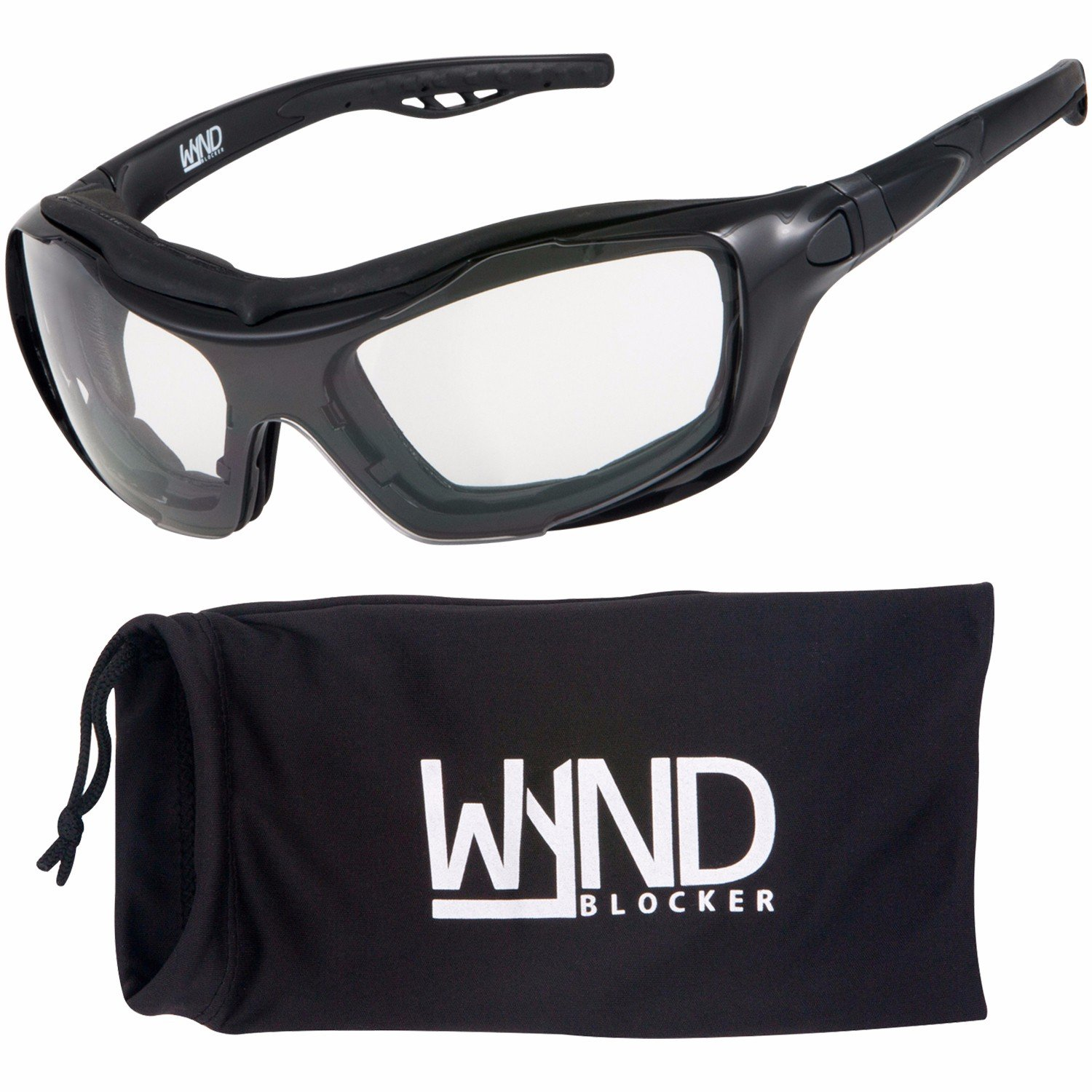 WYND Blocker Motorcycle Riding Glasses Extreme Sports Wrap Sunglasses (Black/Clear) by WYND Blocker