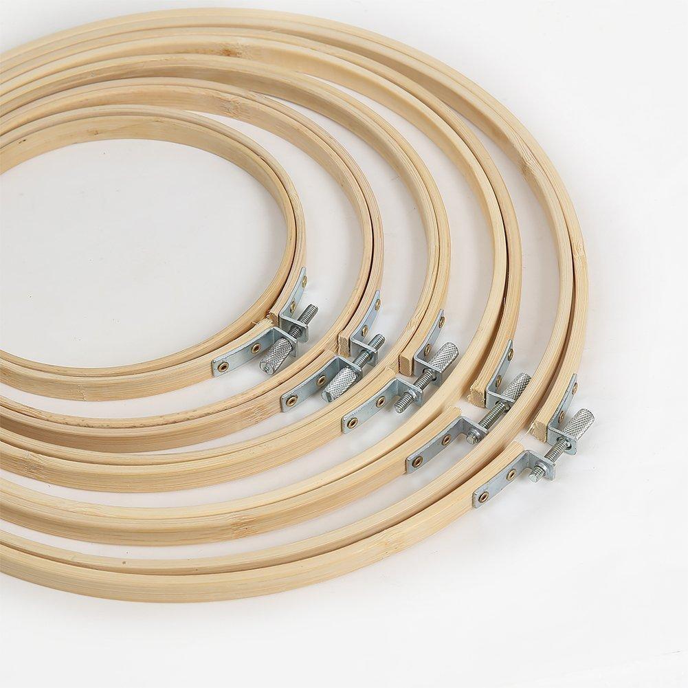 Philna12 - 5 telai rotondi per punto croce, ricamo, cucito, fai da te, in bambù (5misure)