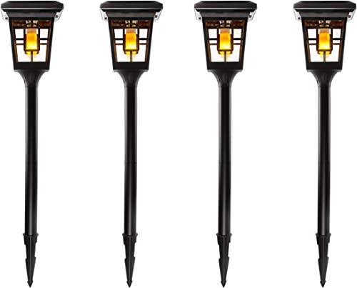 SOLAR BASICS SBG4-57B Luna- Flame Bulb Solar Accent Light Stake, Pier and Wall Mounts, 4-Pack, Black, 4 Count