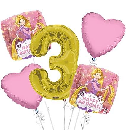 Amazon.com: Rapunzel Globo Ramo 3rd Cumpleaños 5 Pcs ...