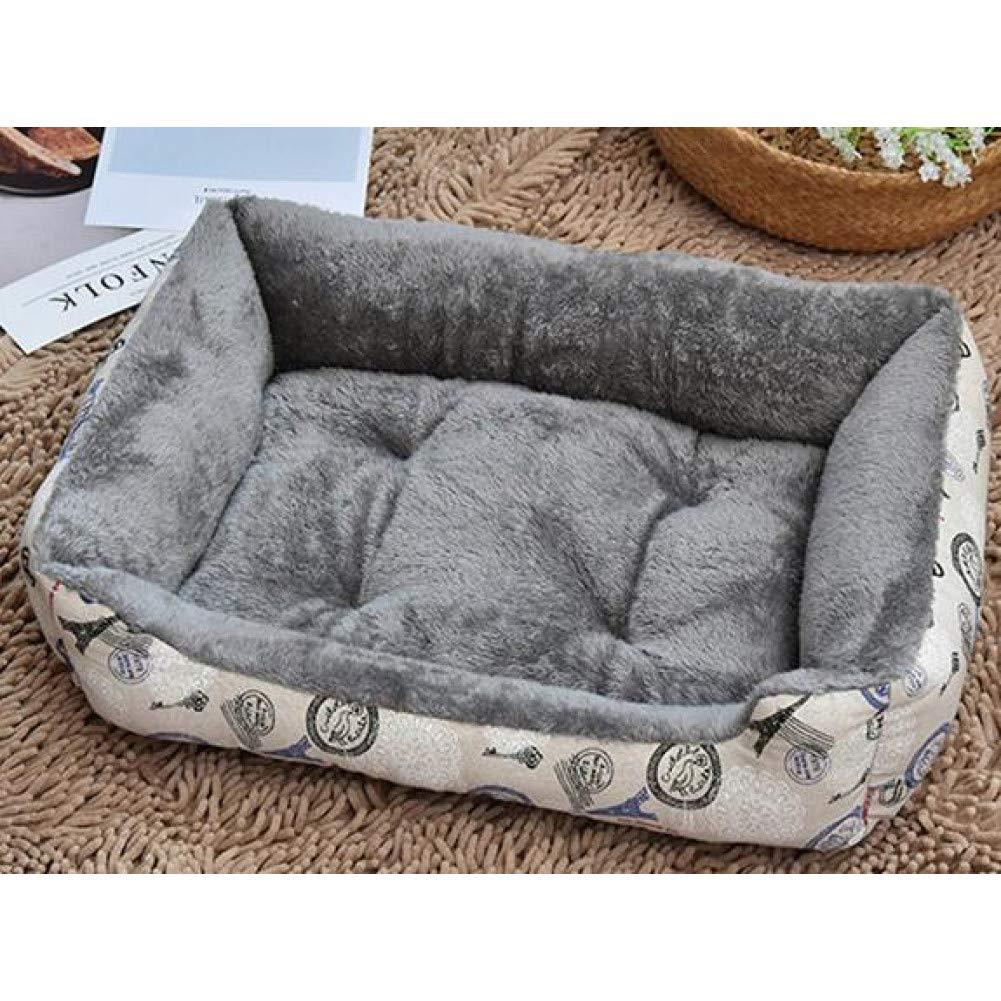 Grey 80x60cm CZHCFF Warm Fleece Dog Cushion Mat Dog Lounger Sofa Cat Sleep Nest Print Rectangle Pet Bed House Mechanical Washable Pet Products