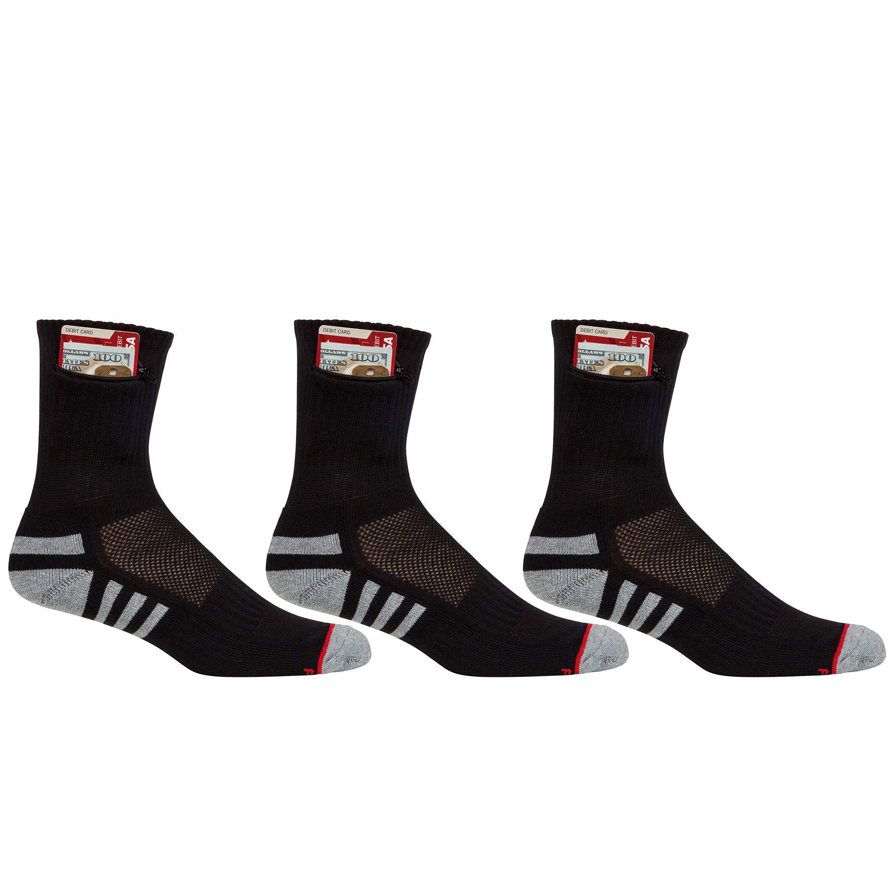 Pocket Socks Men's 3-Pack Athletic Travel Ankle Socks with Hidden Zip Security Pocket for ID, Key or Cash Money, One Size Fits Most, Black, 3 Pair by Pocket Socks
