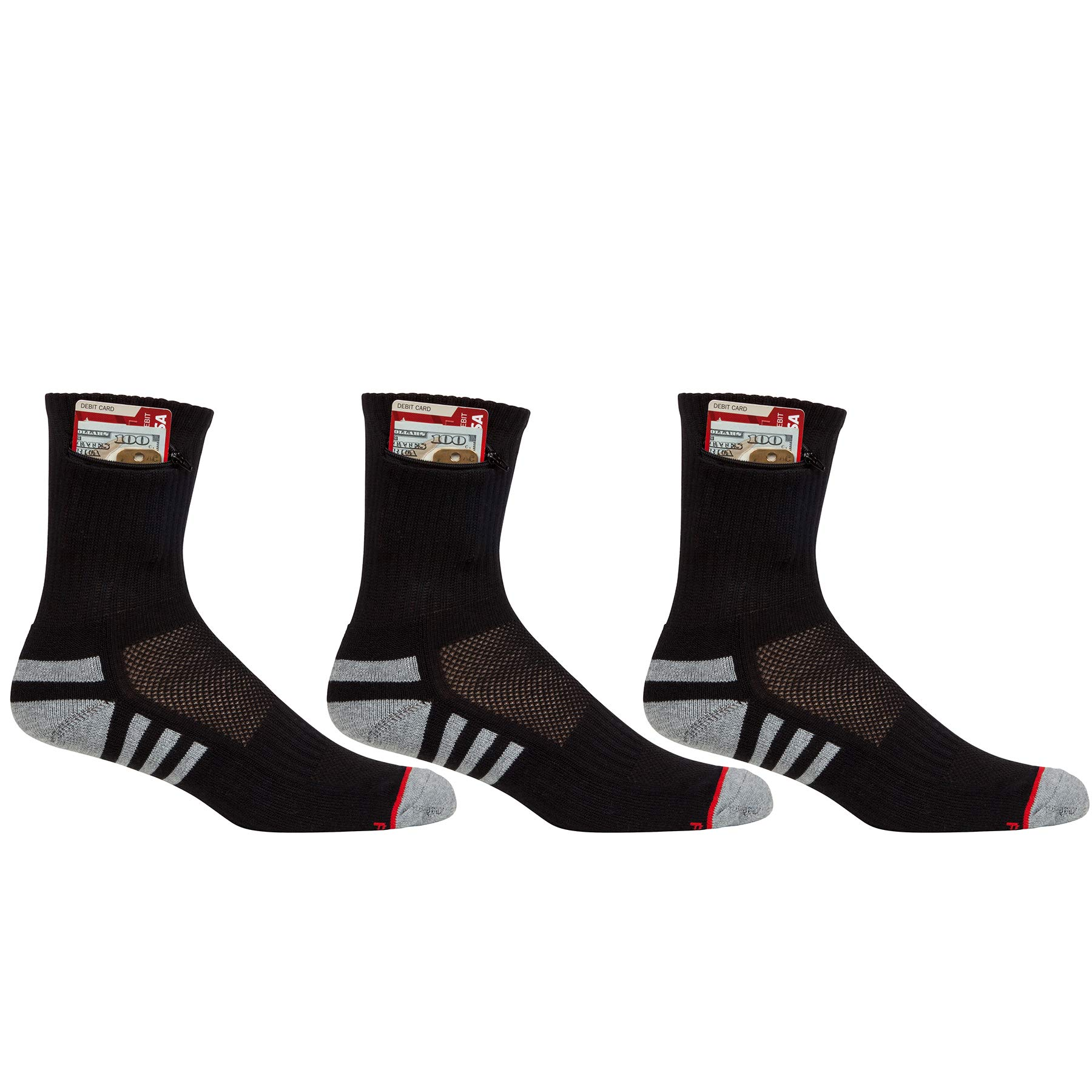 Pocket Socks Women's 3-Pack Athletic Travel Ankle Socks with Zip Security Pocket for ID, Key or Cash Money, One Size Fits Most, Black, 3 Pair