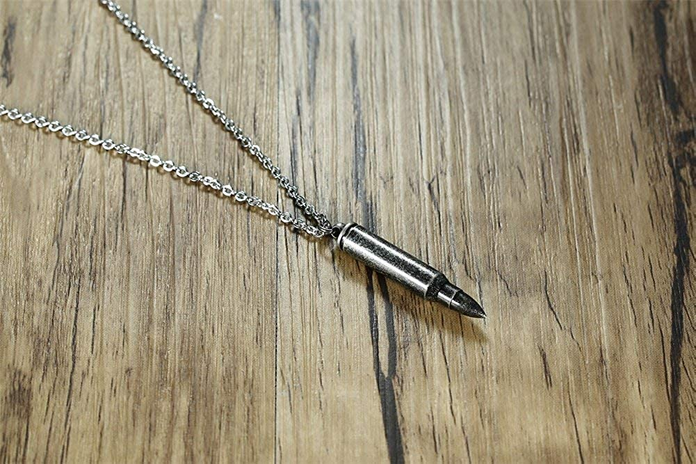 YABINI Stainless Steel Bullet Shape Canister Capsule Memorial Keepsake Pendant Cremation Ash Urn Necklace for Men