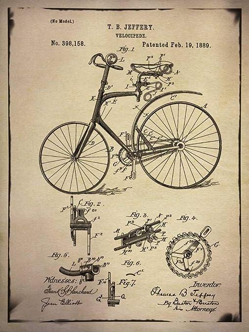 Feeling at home IMPRESION-en-PAPEL-Brevetto-bicicletta-2-Buff-GI-ArtLab-Vendimia-121_X_91_cm: Amazon.es: Hogar