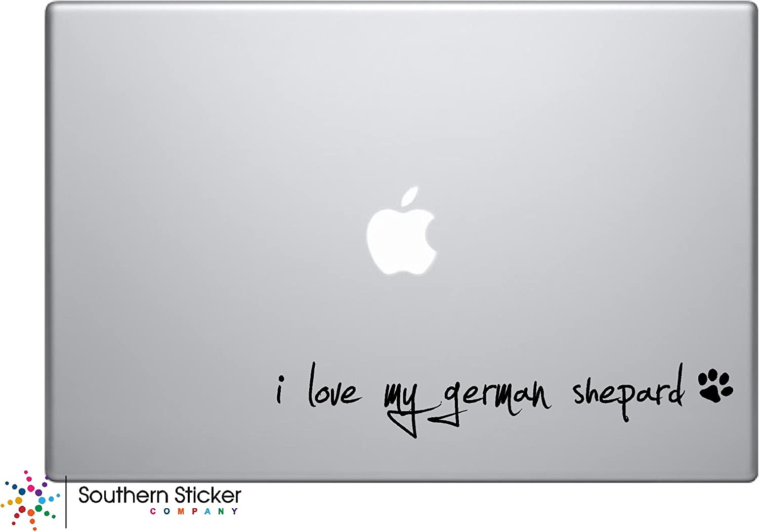 I Love My German Shepard Dog Puppy Vinyl Car Sticker Symbol Silhouette Keypad Track Pad Decal Laptop Skin Ipad Macbook Window Truck Motorcycle