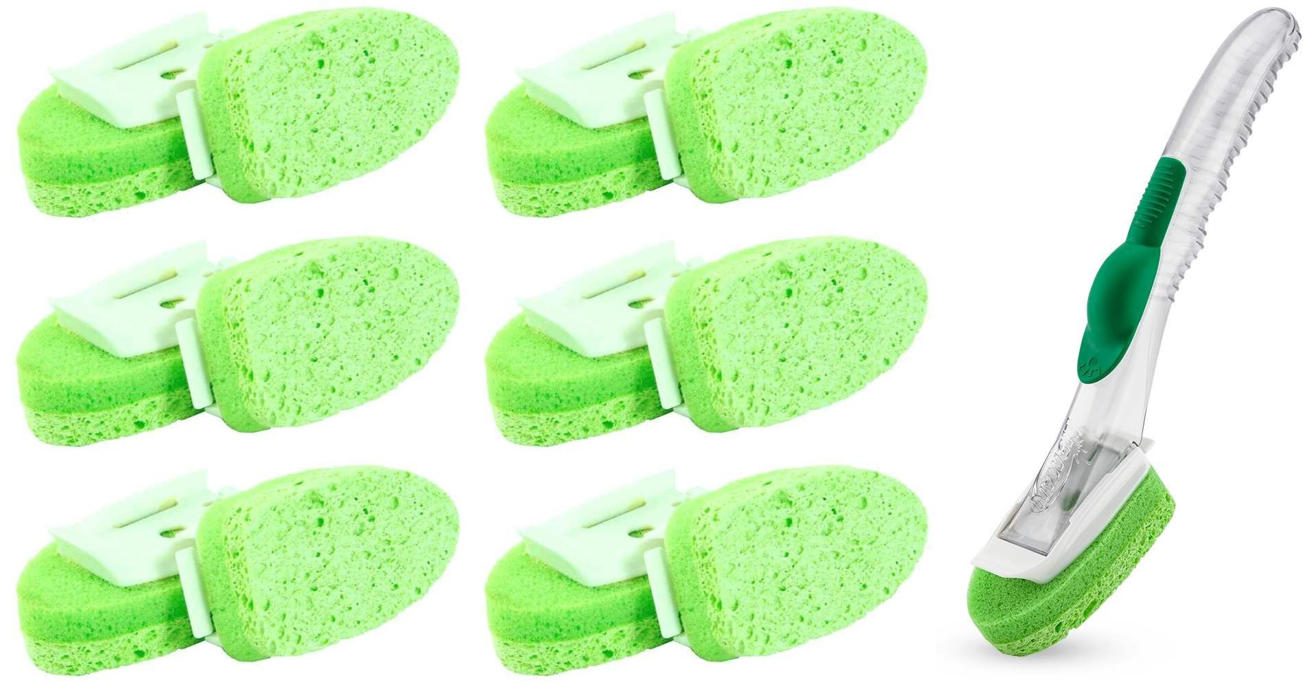 Libman Sponge Refill Dishwashing Dish Sponge Non-Scratch Gentle Touch Wand with 13 Pads