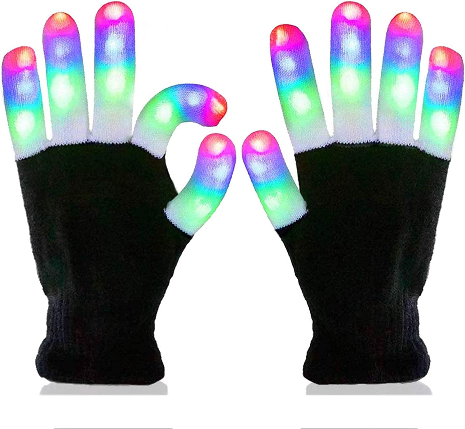 4 Pairs LED Flashing Finger Light Up Gloves Kids Adult Christmas Party Toys Gift