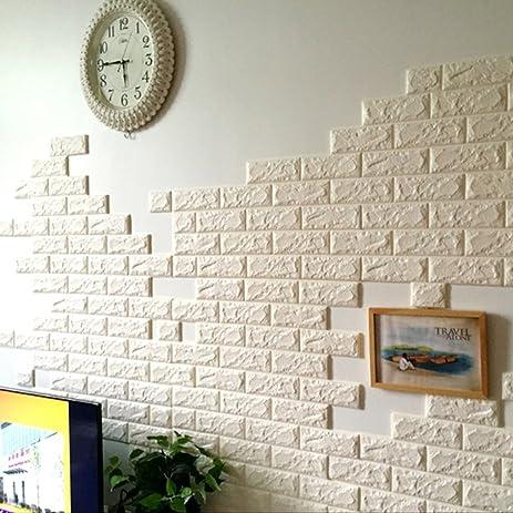 Amazon.com: 3D Brick Pattern Wall Stickers Peel and Stick Kitchen ...