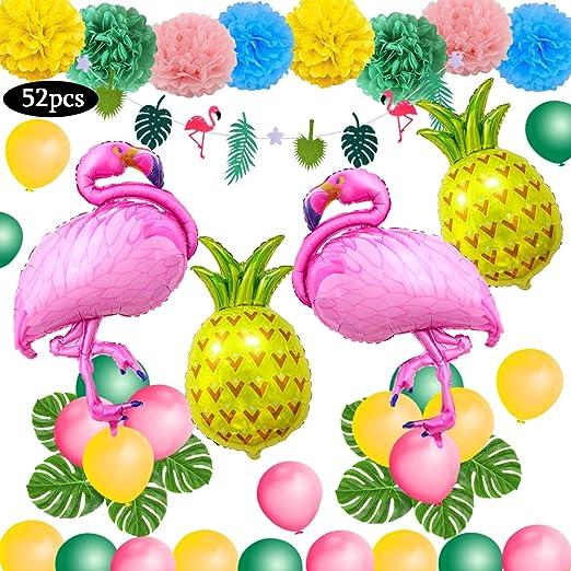 Decoración tropical hawaiana, SPECOOL 52PC Artículos para fiestas en la playa con piña colorida Flamingo Globos Palm Simulación Hojas Papel de banner ...