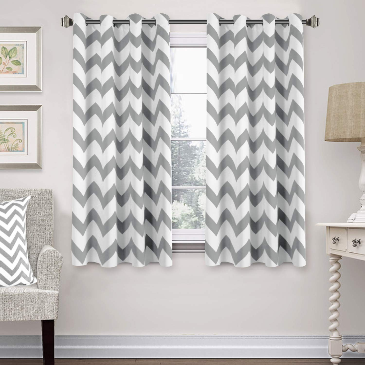 52 x 63 Taupe Chevron Curtain Panels Grommet Thermal Insulated Blackout Window Treatment Panels Pair for Bedroom//Living Room