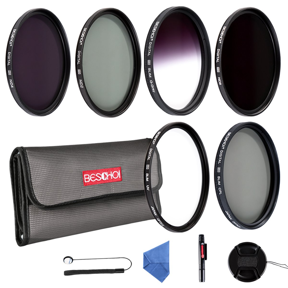 Beschoi 77mm UV Filter, CPL Filter, ND Filter Kit (ND2 + ND4 + ND8), Graduated Grey Color Filter Set, Center Pinch Lens Cap, Cap Keeper Leash, Lens Cleaning Pen, Filter Carry Pouch,Lens Cleaning Cloth by Beschoi