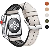 WFEAGL Compatible iWatch Band 38 40mm,Top Grain Leather and Nature Rubber Hybrid Sweatproof Band for iWatch Series4,Series 3,Series 2,Series 1,Sport (38mm 40mm,IvoryWhite Hybrid Band)