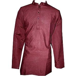 Lakkar Haveli Indian 100/% Cotton Men/'s Shirt Floral Blue Print Loose Fit Kurta Tunic Blue Color Red Chili