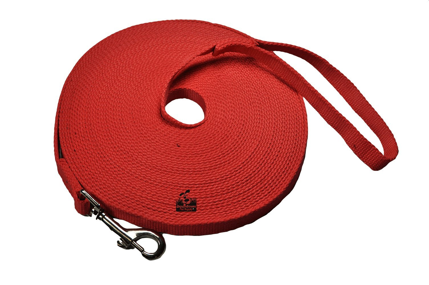 Downtown Pet Supply Long Dog Puppy Obedience Recall Training Agility Lead, Leash - RED, 50' Foot - by