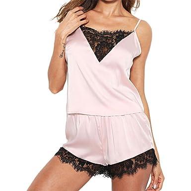 45cd7ad2d01e2 LLNONG Women Sleepwear Soft and Comfortable Sleeveless Strap Nightwear Lace  Trim Satin Top Pajama Sets (
