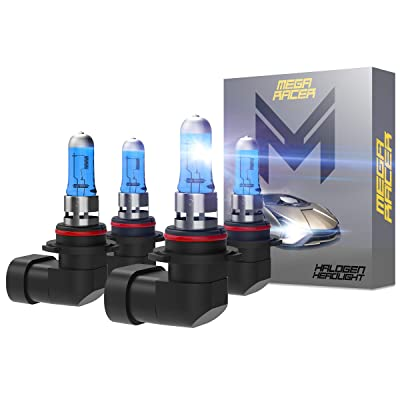 Mega Racer Combo 2 Pair 9006-HB4 55W White 5000K Xenon Halogen Headlight (Fog Light) Lamp Bulb Replacement Auto: Automotive