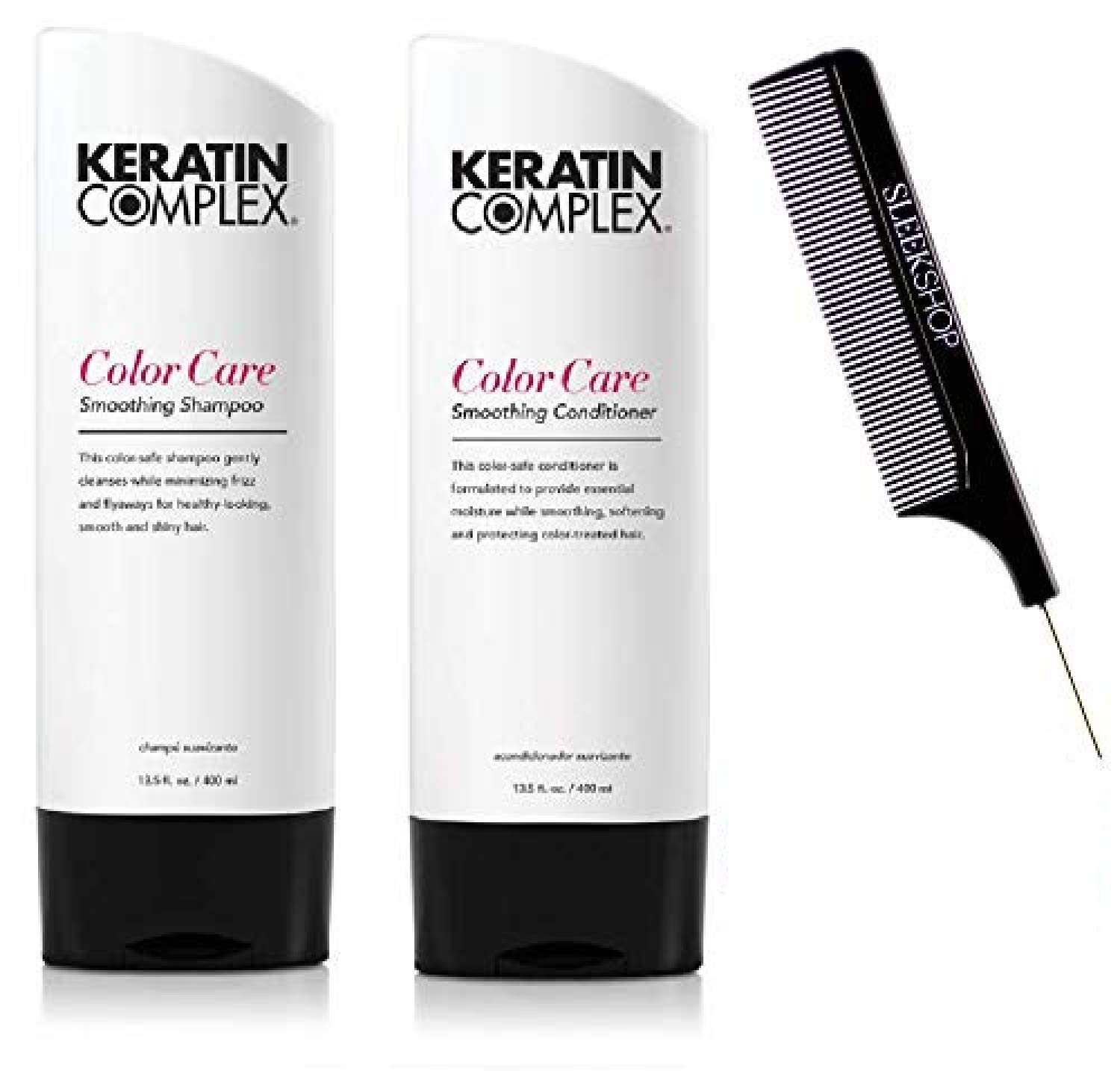 Keratin Complex COLOR CARE Smoothing Shampoo & Conditioner DUO SET (w/Sleek Comb) Frizz-Fighting, No Added Sodium Chloride (13.5 oz - ORIGINAL DUO KIT)