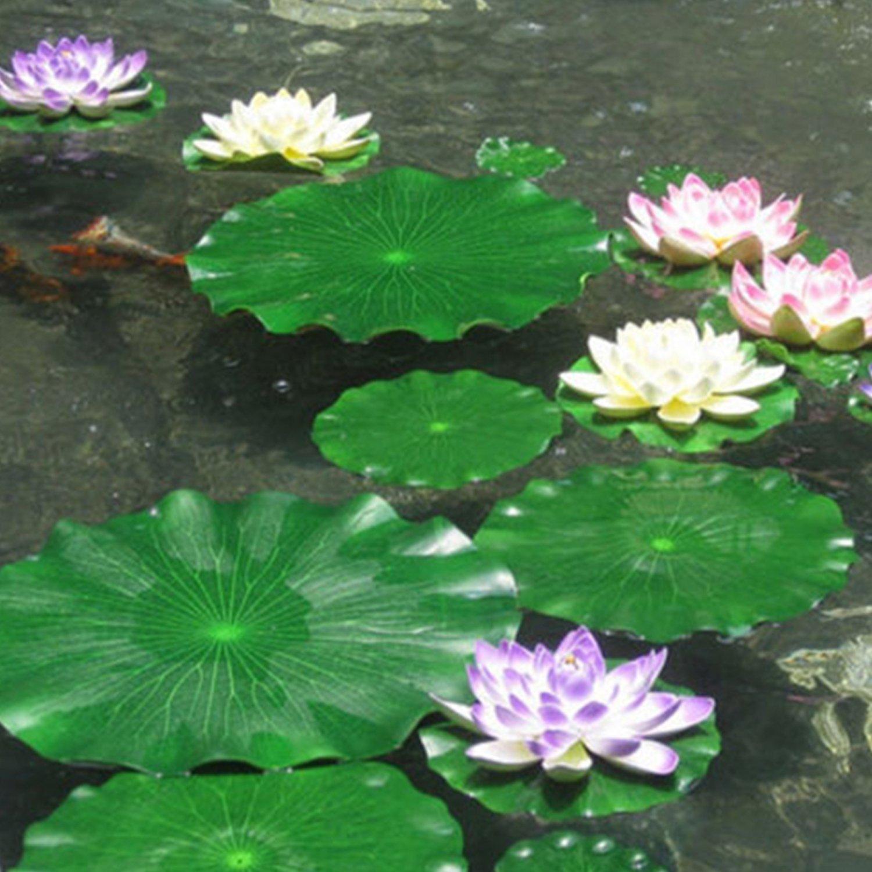 Legendog 13PCS Artificial Aquarium Plants Fish Tank Decor Decorative Foam Artificial Fake Floating Flower with Fake Lotus Leaves