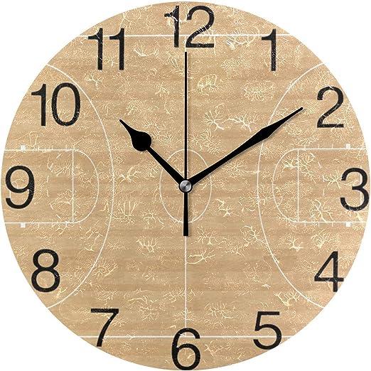 Miedhki Reloj de Pared Redondo con diseño de cancha de Baloncesto ...
