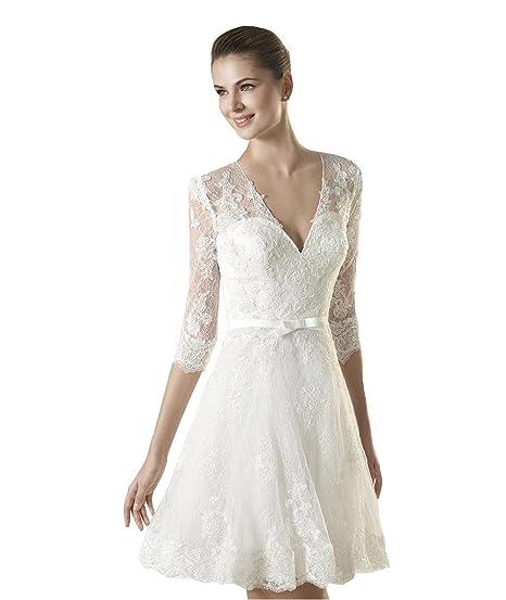 Cloverdresses Womens Mini Short Lace Wedding Dresses V Neck Bride Gown Plus Size