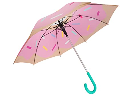 Fisura HM0498 Paraguas Donut Rosa 106cm Diseño Divertido Original Glaseado Azucar Multicolor Automatico