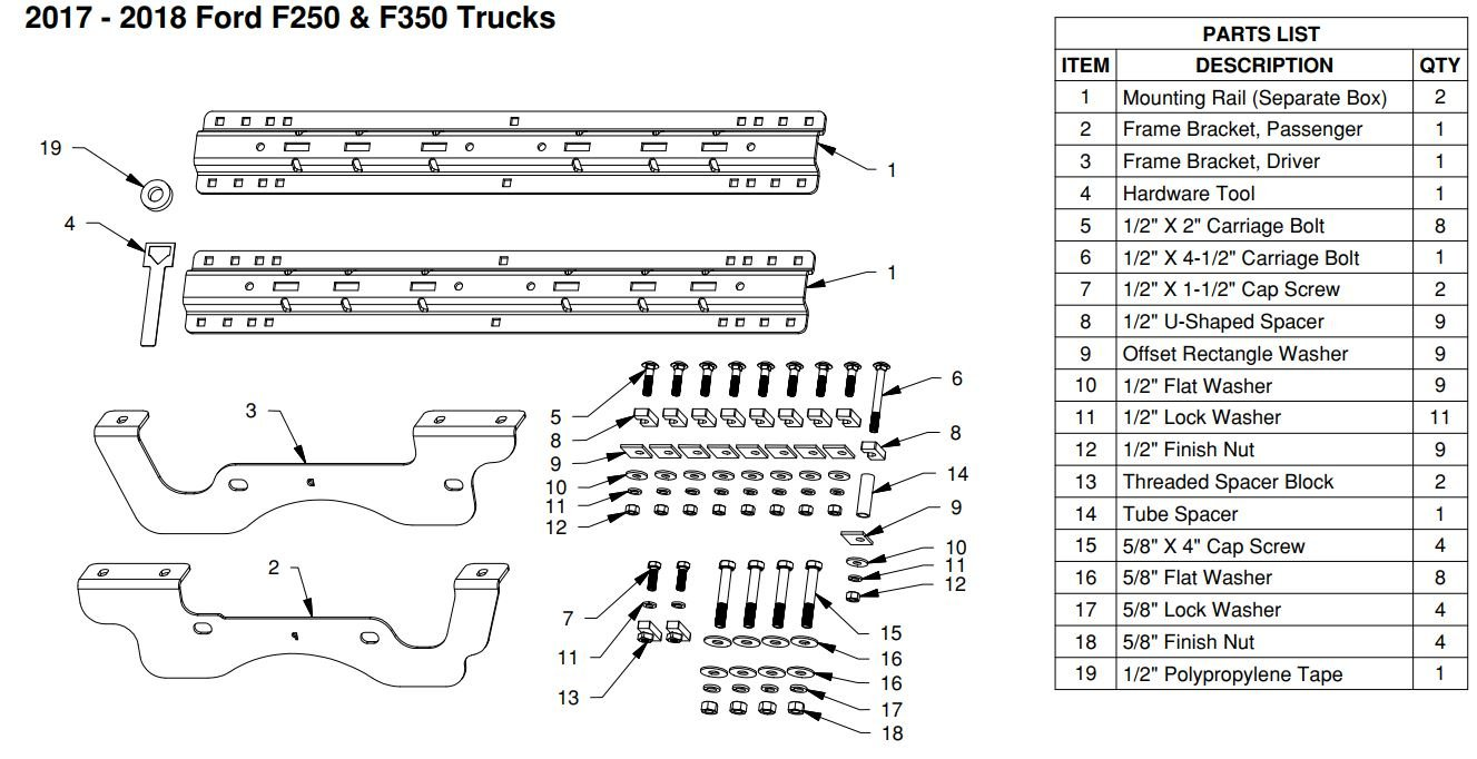 Custom Fifth Wheel Mounting Brackets (RVK2402) With Rails