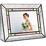 J Devlin Pic 137-46H Vintage Picture Frame Stained Glass Green Purple Amber 4x6 Horizontal Photo Colorful