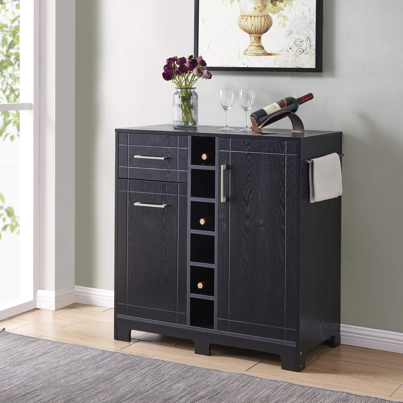 BELLEZE Vietti Bar Cabinet for Liquor and Wine Bottle Storage with Metal Handle Drawers in Black Oak by Belleze