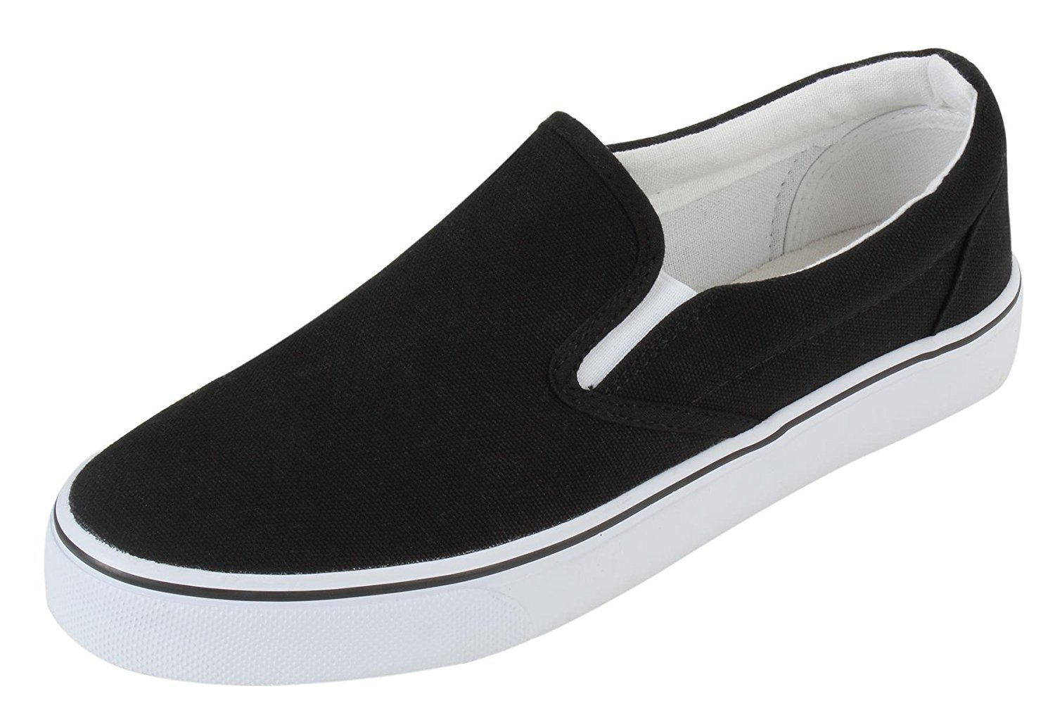 Anmengte Womens Flat Sports Leisure Fashion Canvas Sneakers Casual Shoes (7 B(M) US, Black)