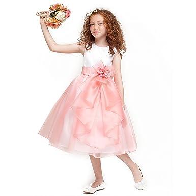 8727873b351 Robe cérémonie fille - robe en organza fillette couleur corail haut en satin  blanc avec une