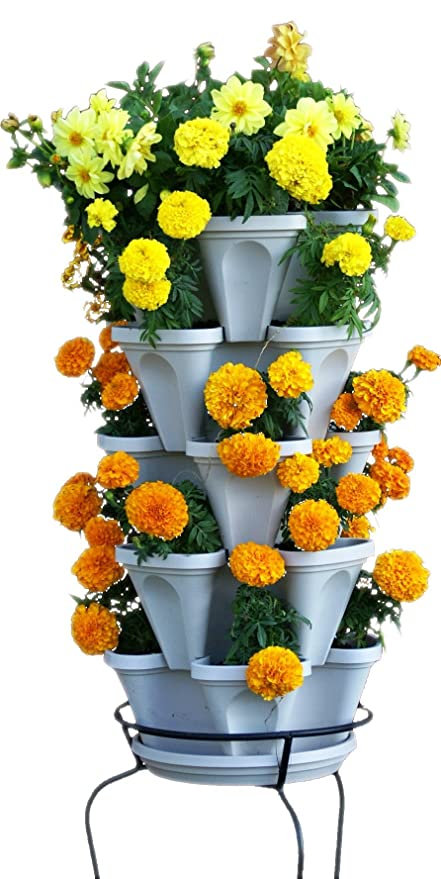 Wonderful Vertical Gardening Flower Planter   Stone Stacking Pots   Grow Strawberry  Herbs Pepper And More With
