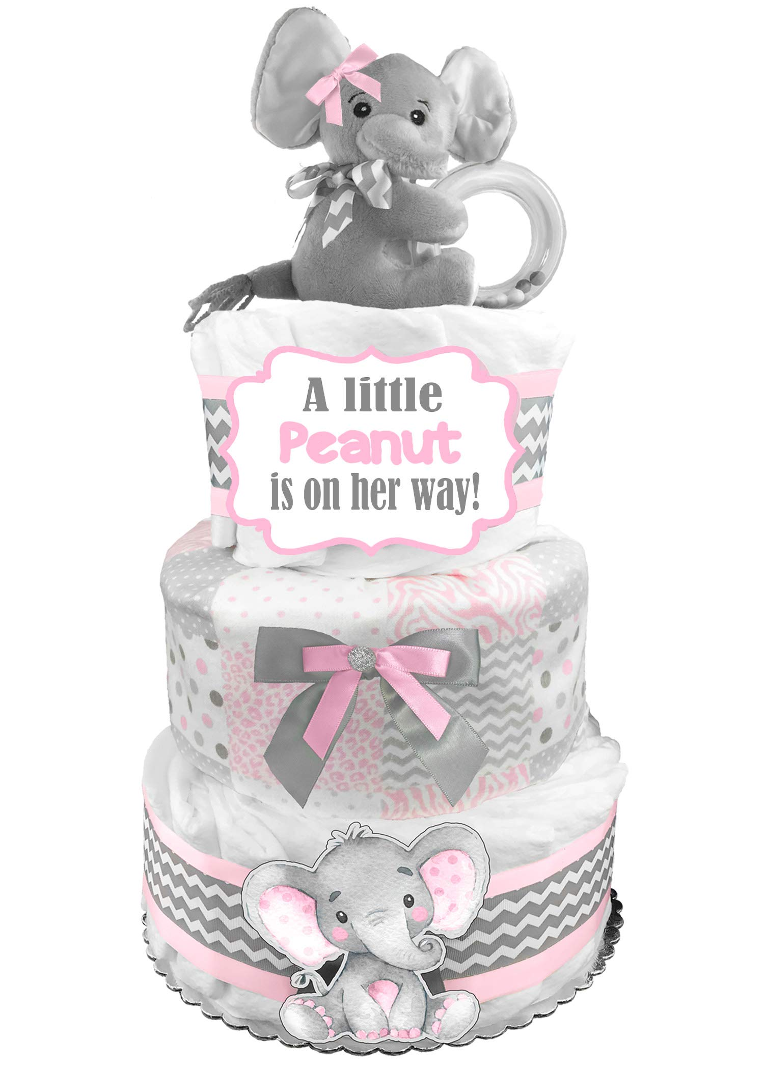 Elephant 3-Tier Diaper Cake - Little Peanut - Baby Shower Gift - Pink and Gray