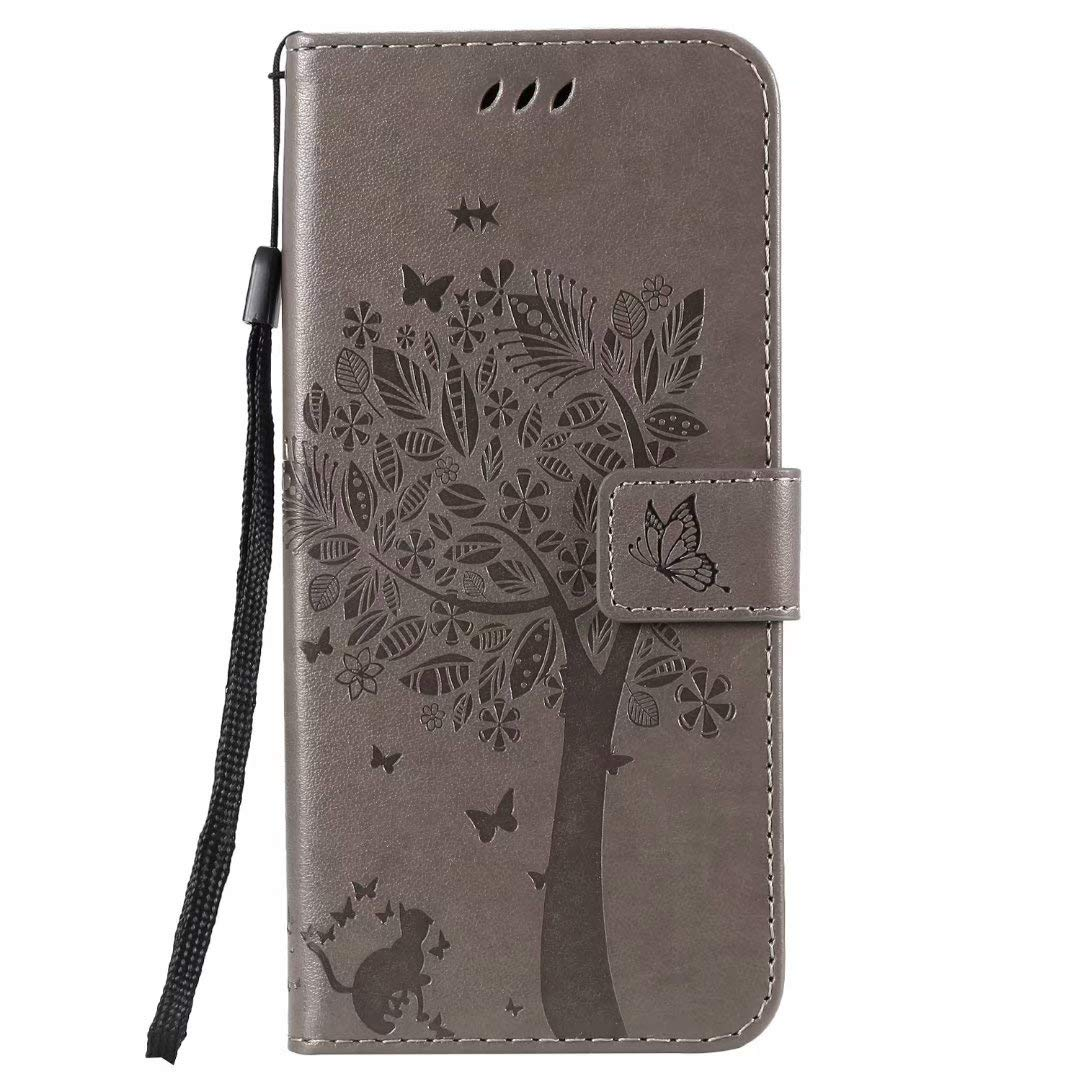 Vagenno Samsung Galaxy S10 Case Embossed Tree PU Leather Shockproof Flip Wallet Cover with TPU Card Slots Magnetic Closure Stand Function Folio Notebook Protective Skin,Gray