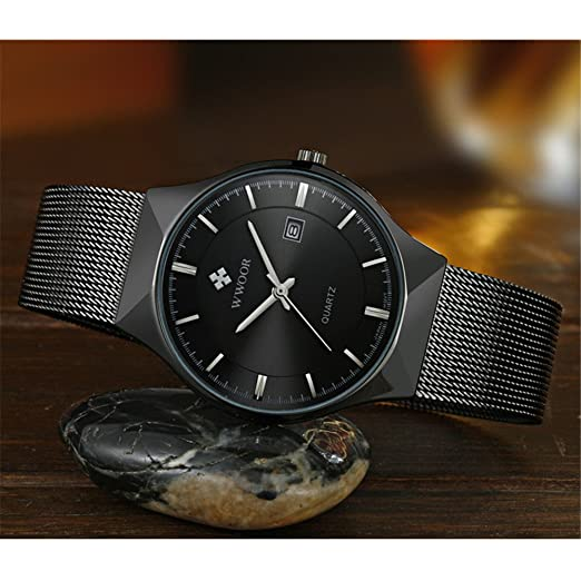 Amazon.com: WWOOR Mens Analog Quartz Watch Ultra Thin Dial Date Stainless Steel Mesh Belt Waterproof (Black B): Watches