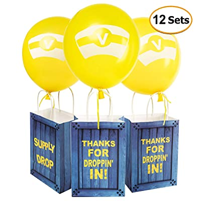 Game Theme Birthday Party Paper Gift Bags with Latex Balloons Set - Party Balloons Party Favor Bags for Kids Birthday Game Party Supplies Decorations - 12 Sets: Health & Personal Care