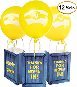 Game Theme Birthday Party Paper Gift Bags with Latex Balloons Set - Party Balloons Party Favor Bags for Kids Birthday Game Party Supplies Decorations - 12 Sets