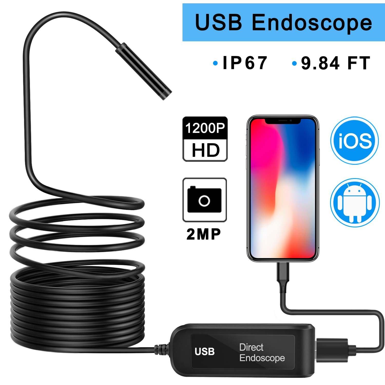 Yandu USB Endoscope for iPhone IOS Android, 2.0 MP Semi-rigid Borescope 1200P HD 1000 mAh Battery Waterproof Endoscope Inspection Snake Camera - 9.84 ft