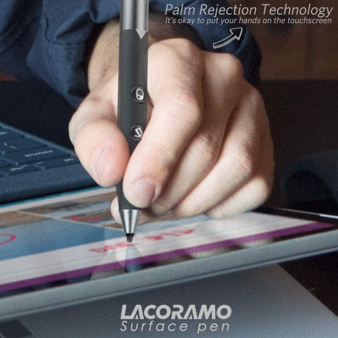 Classic 4096 Level Pressure Sensitivity Microsoft Certificated Surface Pen USB Rechargeable Surface Stylus for Surface Pro 7 6 5 4 3 Pro X 2019 Surface Book//Go//Studio 500 Hours Continuous Use