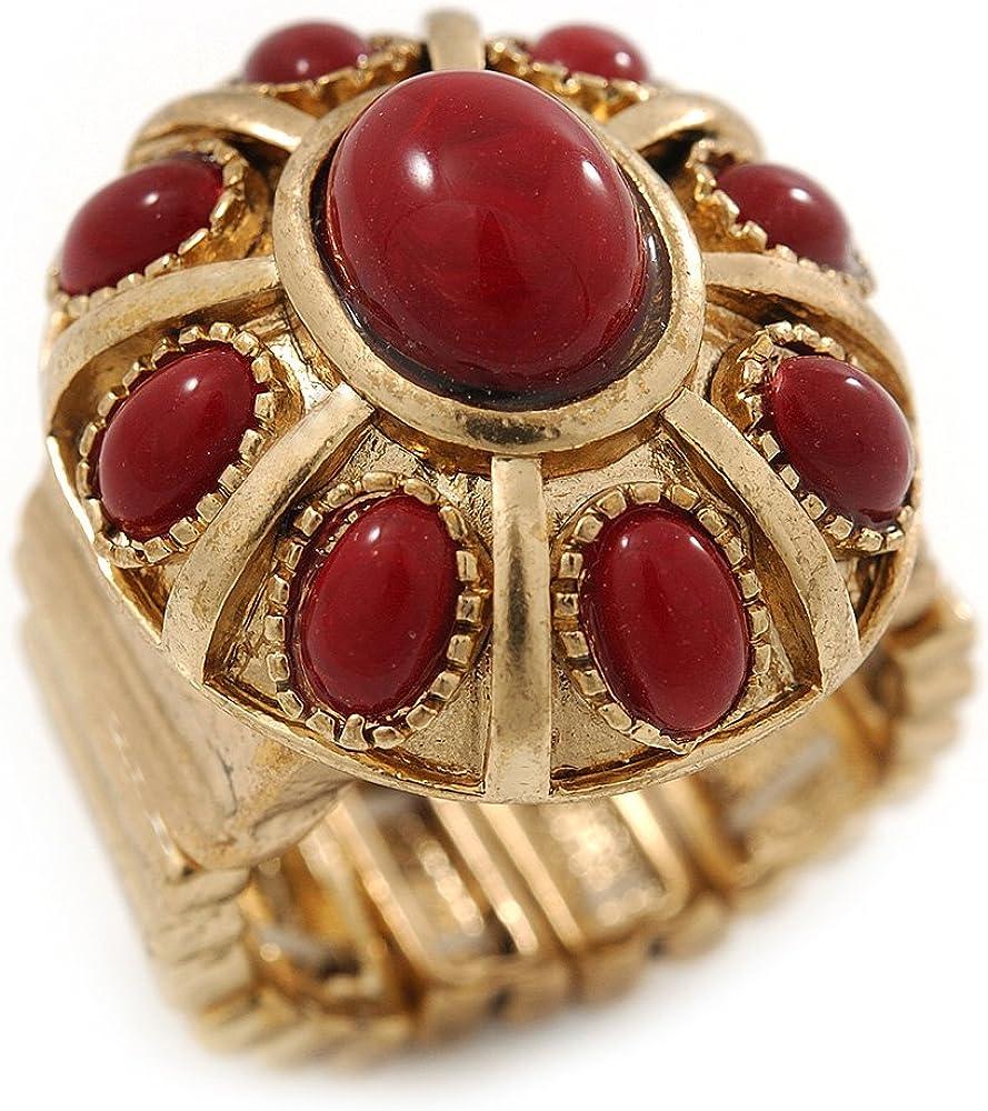 Rubí de color rojo Oval anillo de piedra de cristal en acabado Oro de combustión Aquiles - 25 mm de longitud - tamaño 8/9
