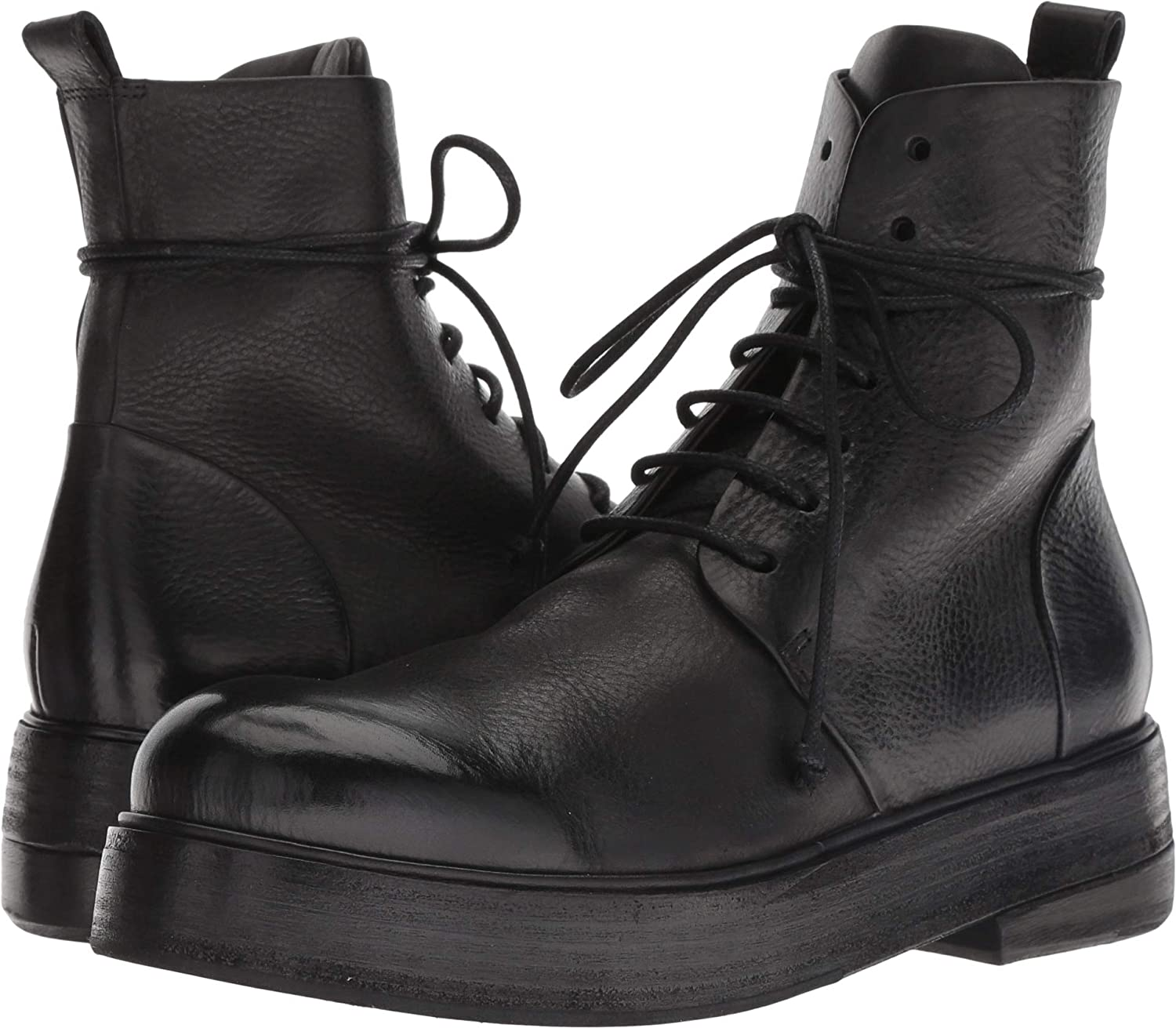 Black marsell Womens Zuccolona Smooth Leather Combat Boot