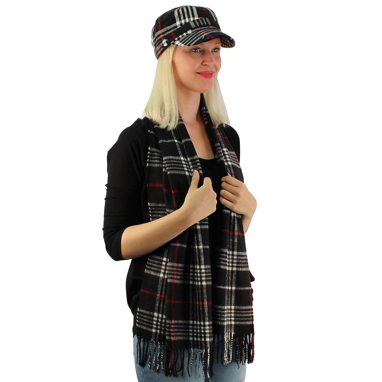 Ladies Teens 2pc冬格子柄Cadetタクシー運転手GIキャップ帽子Ultraソフトスカーフセット B075QHTT31  ブラック