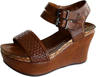 Pierre Dumas Hester-12 Womens Vegan Leather Double-Buckle Rounded-Toe Wedge Sandals
